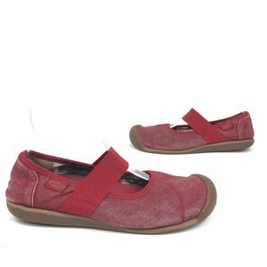 Keen Red Canvas Athletic Mary Jane Slip On Flats 8